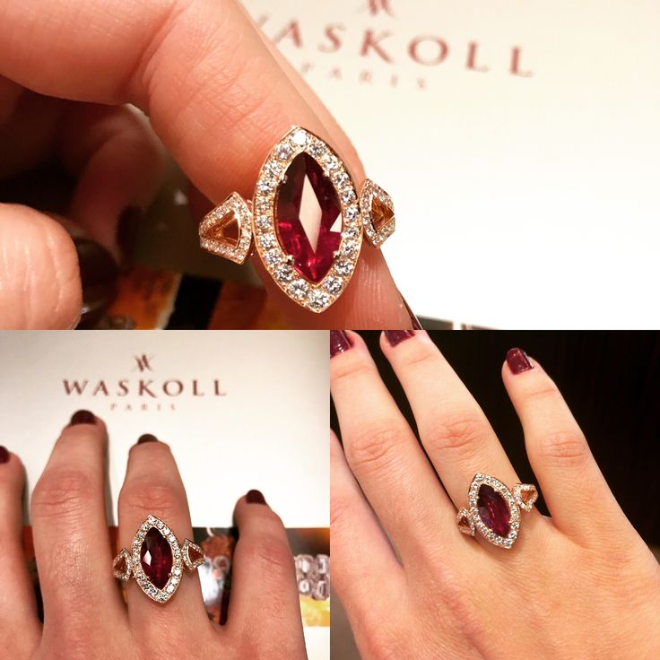 A beautiful ring with a 2,30 carats ruby in marquise shape in pink gold just coming out of our workshop ! #paris #waskoll #ruby #marquise #pinkgold