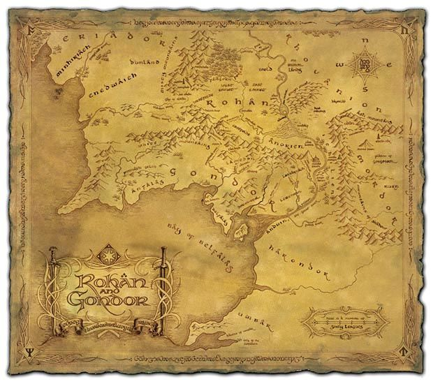 Lord of the Rings map Rohan and Gondor by Daniel Reeve