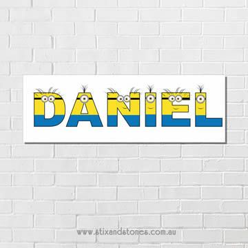 .Minions Personalised name plaque canvas for kids boys wall art - Long…