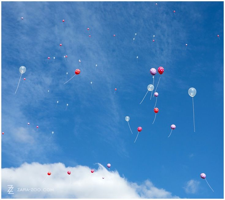Use colorful #helium filled #balloons instead of confetti.  See more of this wedding at # Kleinevalleij on the #ZaraZoo blog http://www.zara-zoo.com/blog/wedding-at-kleinevalleij/