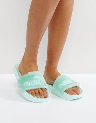 Puma   Puma X Fenty Faux Fur Slider Sandals