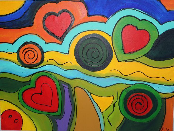 lijnenspel - acryl op canvas door Erna Feijge