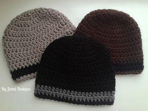 Padrão de crochê livre para um chapéu de gorro tamanho mens usando fio robusto.