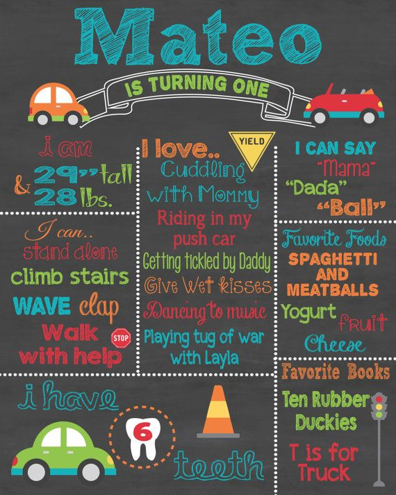 First Birthday Chalkboard Printable Poster Car and Transportation Theme / Baby Girl or Boy / 1st Birthday .pdf or .jpeg