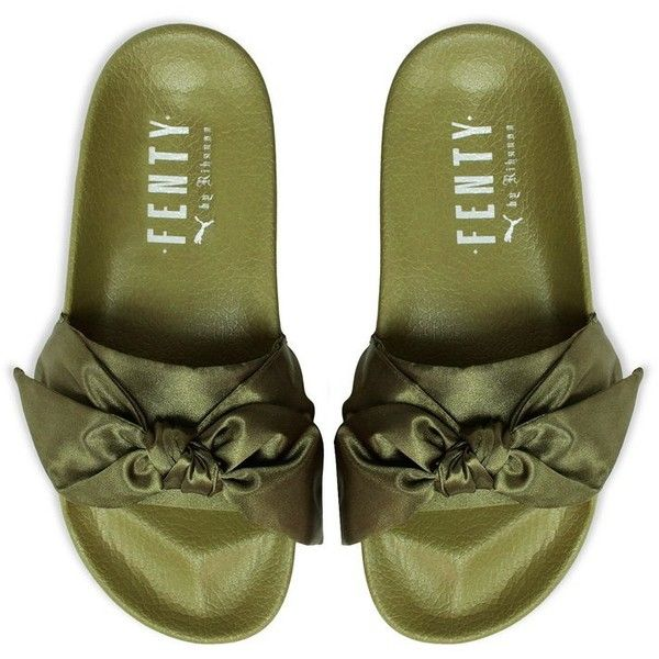 Puma FENTY by Rihanna Bow Slide [365774-01] (£72) ❤ liked on Polyvore featuring shoes, leather shoes, bow shoes, puma footwear, oversized shoes and puma shoes