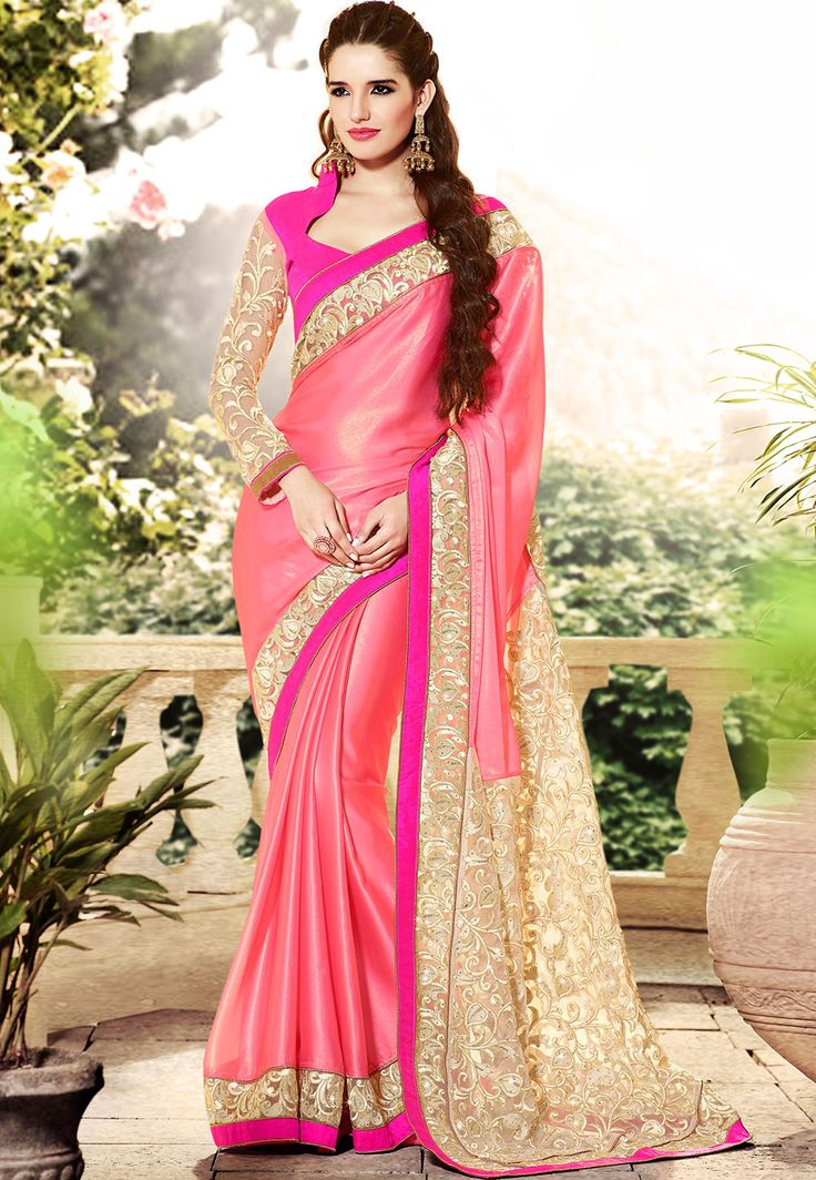 Old Rose Faux Crepe #Saree with Blouse
