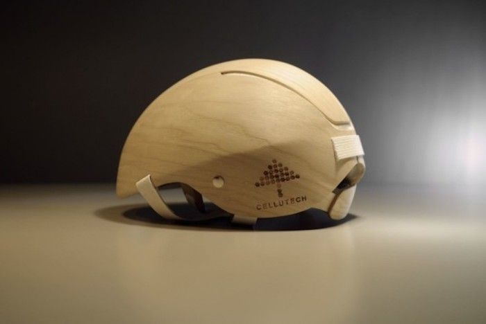 This bicycle helmet is made from a wood-based foam, making it a biodegradable alternative to regular plastic protection. Image: Cellutech
