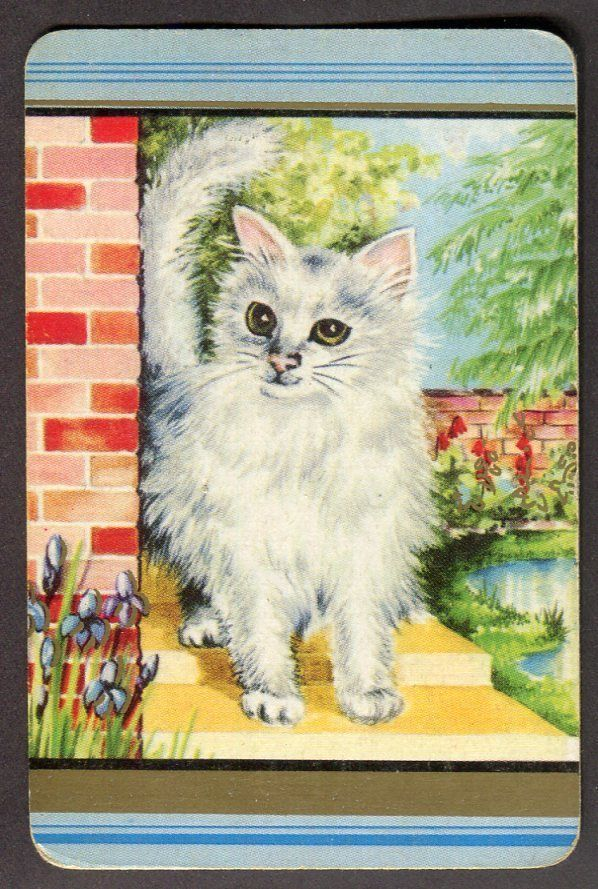 Vintage Coles Swap Card - White Cat on Yellow Steps *FREE POSTAGE* $20.00