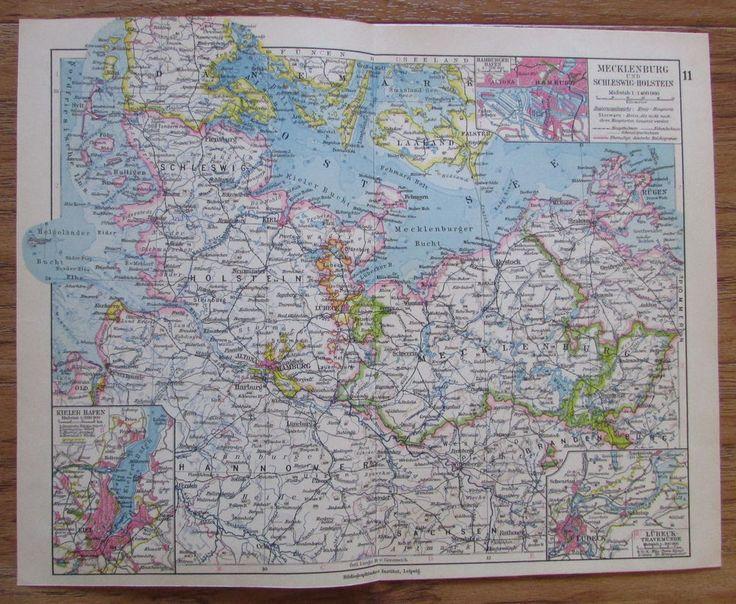 Mecklenburg und Schleswig-Holstein - alte Landkarte Karte old map 1928