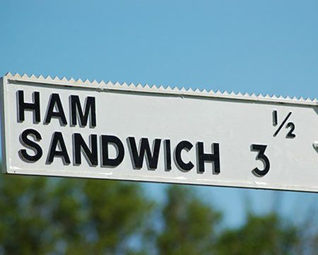 Ham and Sandwich are villages in Kent ...  a good area to stop for lunch '>)