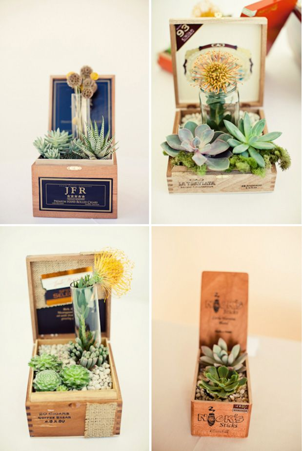 "cigar boxes and succulent centerpieces, could also make great ""thank you"" gifts."