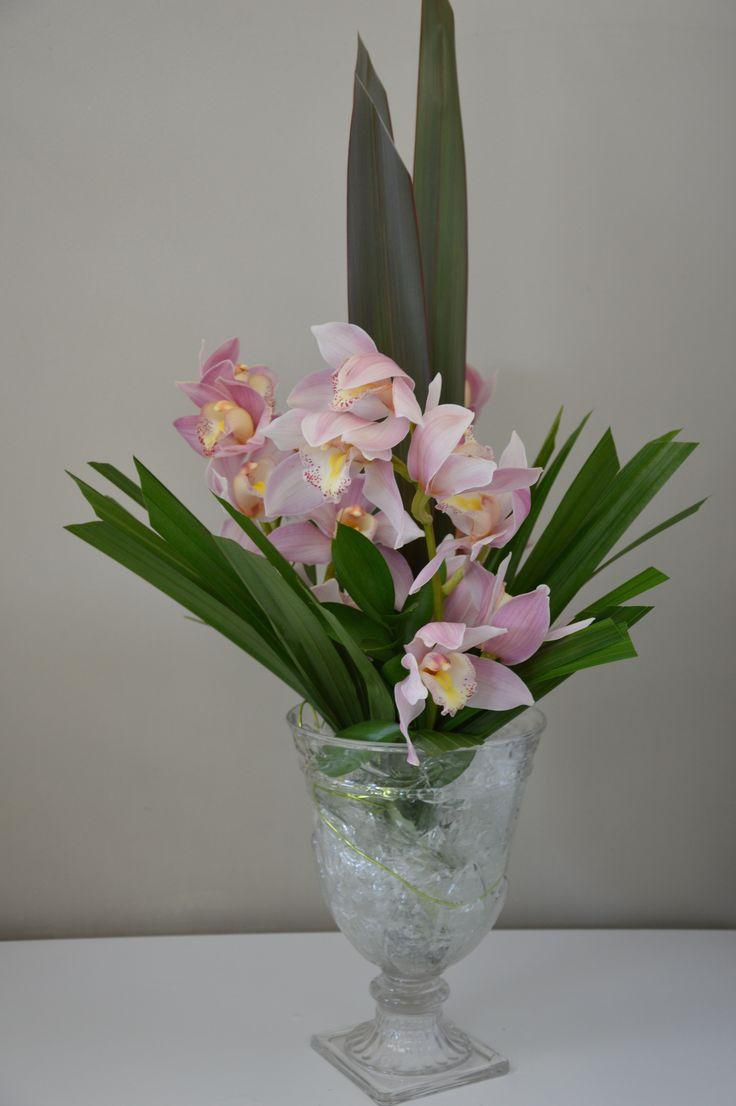 Pink Cymbidium Orchids, Palm Leaves & Flax