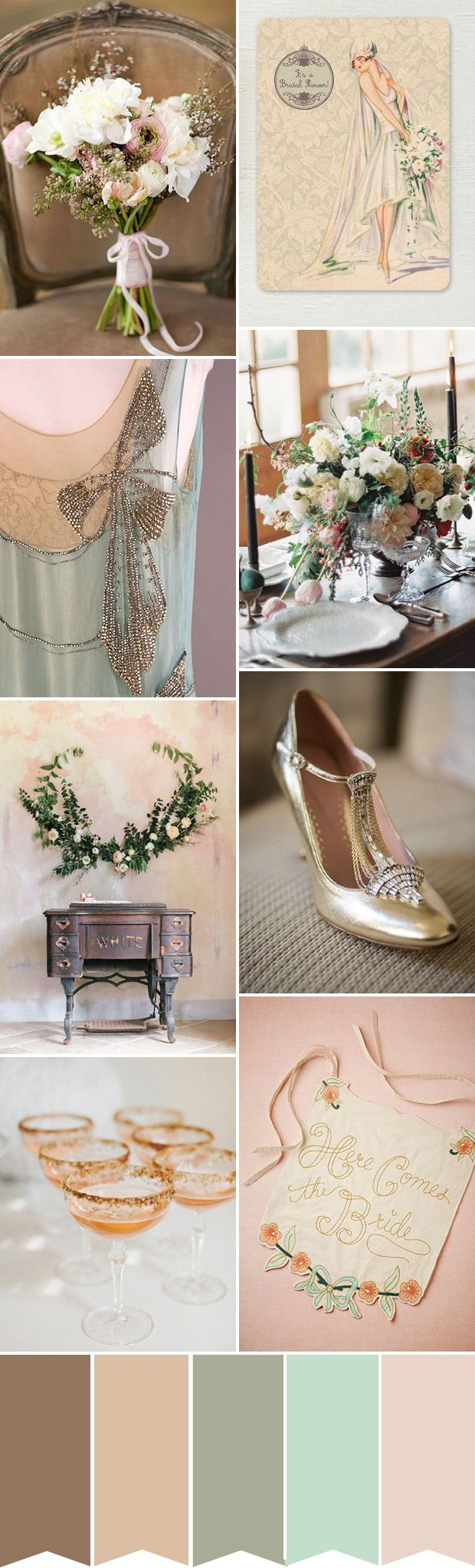An 1920s inspired wedding colour palette with soft tones and gold accents | Found for you by www.astrabridal.co.nz |