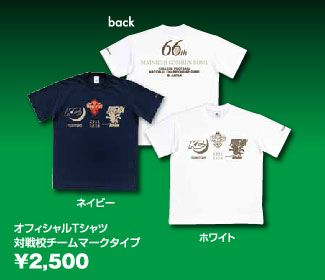甲子園ボウルオフィシャルTシャツ  対戦校チームマークタイプ(完売致しました。)