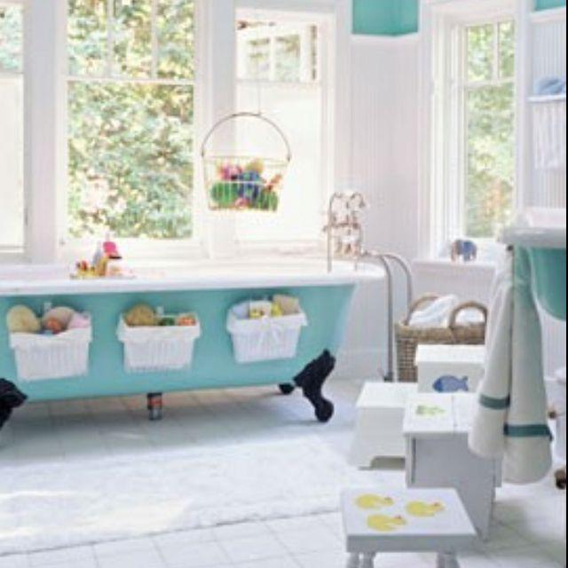 Great bath toy storage idea bathroom kids pinterest for 26 great bathroom storage ideas