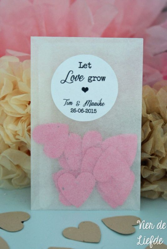 Bedankje met plantbare hartjes / wedding favor with seed paper hearts