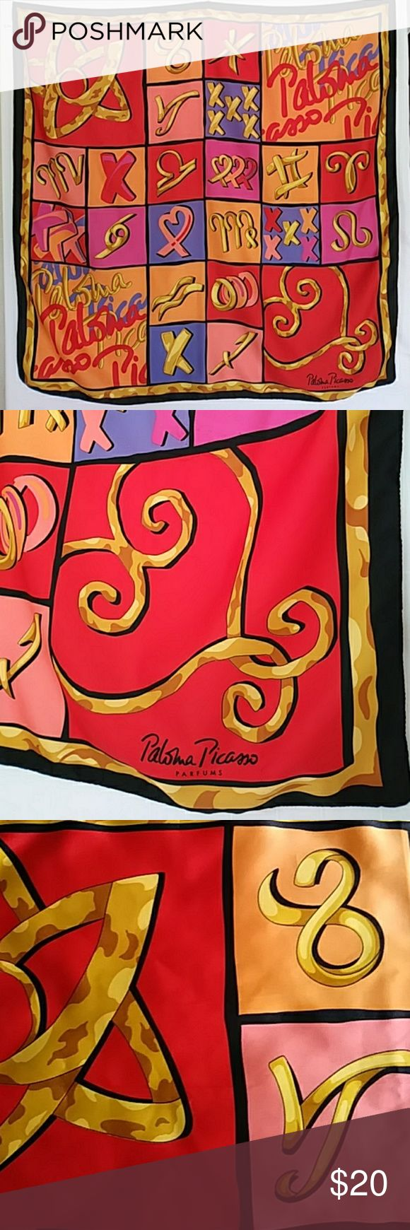 """Just in! PALOMA PICASSO Vintage Scarf PALOMA PICASSO PARFUMS Scarf. Vibrantly colorful. Vintage 1980's. Made in Italy. Preloved; some almost indiscernible spots throughout likely due to use of detergent and one short pulled thread near signature (priced accordingly and please see photos). Black border; red, gold, fuchsia pink, peach, coral, blue. 34"""" square.   Colorblock Paloma Picasso Accessories Scarves & Wraps"""