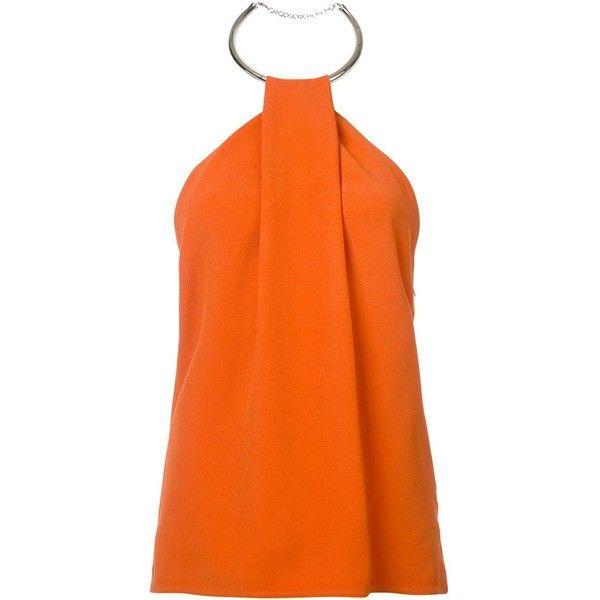 Mugler halterneck blouse ($1,370) ❤ liked on Polyvore featuring tops, blouses, halter top, orange top, orange blouse, halter neck tops and orange halter top