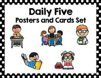 Keep your classroom organized and your students informed with these Daily Five posters and cards. The Daily Five posters have explanations of each center and lists what is expected of the students and teacher when they are at each center. The Daily Five cards are perfect to use in a pocket chart or on a whiteboard. Each center has a specific picture, which is great for my students that can't read.