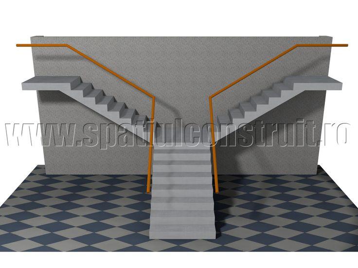 Staircases: general concepts & classifications/ Scari: notiuni generale, clasificari >> T-shaped staircase/ Scara cu trei rampe la 90 de grade, cu impartirea fluxurilor