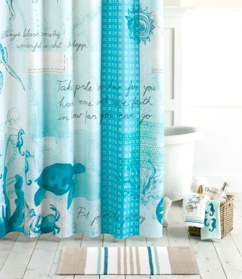 Blue Ocean Theme Bathroom Collection With Shower Curtain Towels And Bath Rug Http