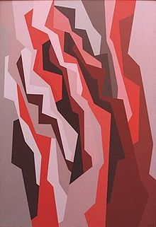 "Karl Benjamin: ""Orange, Red, Umber"" 1958, 52 x 36 inches. ©Benjamin Artworks, reproduced by permission."