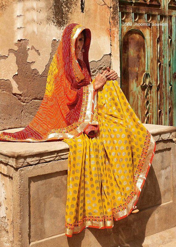 Indian Designer Saree | Rich Georgette Saree | Rajasthani Sarees | Marwadi Sarees | Bandhani Saree | Tie & Die Sarees | Saree with Petticoat