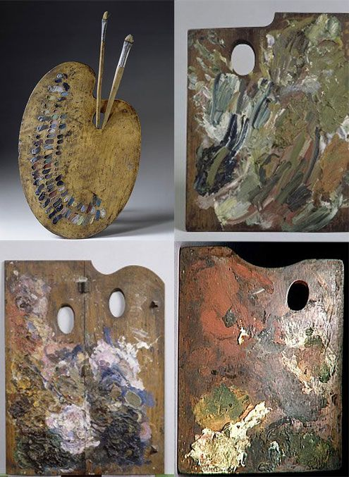 Palettes of great artists: (clockwise from top left) Eugene Delacroix, Vincent Van Gogh, Edgar Degas, and Paul Gauguin.