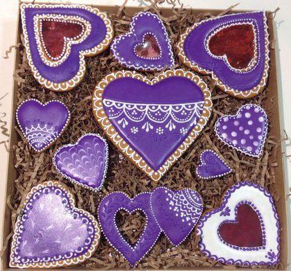 """Kulinarne ręcznie robione pamiątki.  Fair Masters - ręcznie.  Kup Ginger cookies lutego 14 """"fioletowy koronki"""".  Handmade."""