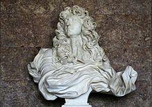 Buste de Louis XIV par Le Bernin, salon de Diane, Versailles, 1665 - Le Bernin est un artiste de renommée internationale et dès 1664, Colbert l'invite en France pour le compte de Louis XIV qui doit faire pression sur le pape pour qu'il libère son architecte préféré, lequel part pour Paris en avril 1665 pour travailler sur la restructuration du Louvre.