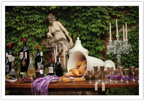 Wedding reception idea: Wine + Artisan Bread Table