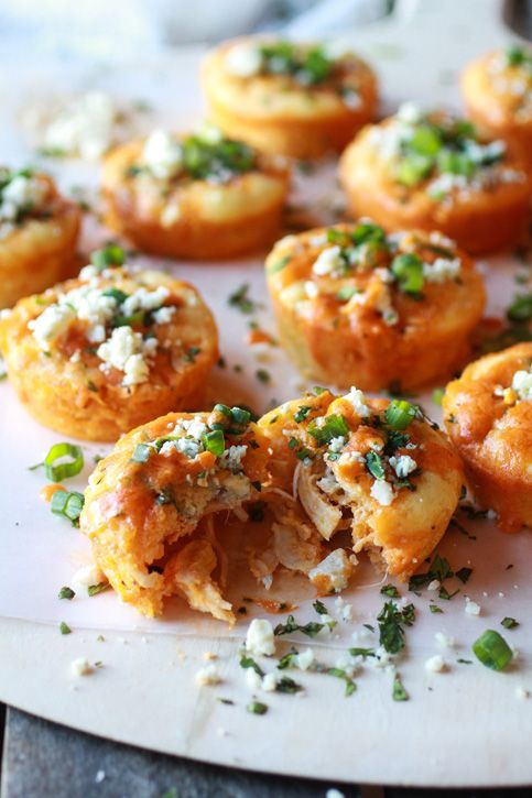 Impossibly Easy Mini Buffalo Chicken Pies Recipe ~ Says: Trust me, this savory mini pie is going to be the hit of every gathering, it's that good... so easy and delicious!