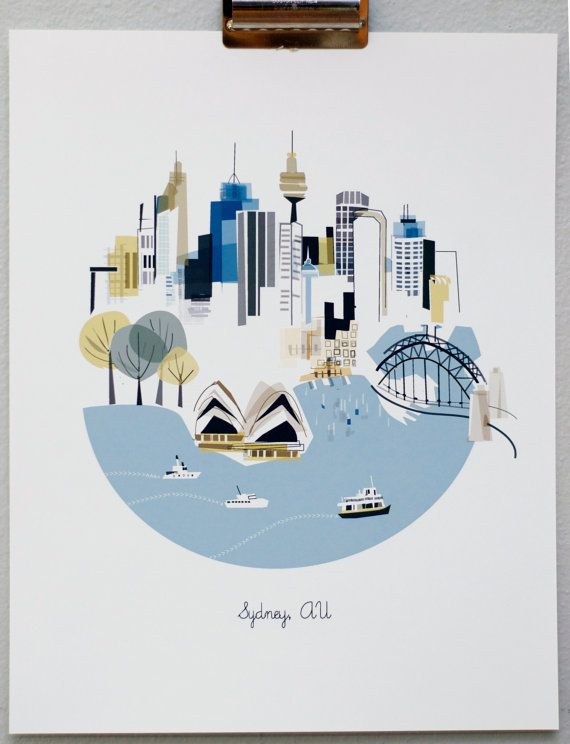 Sydney AU print by albiedesigns on Etsy- has lots of other beautiful city prints