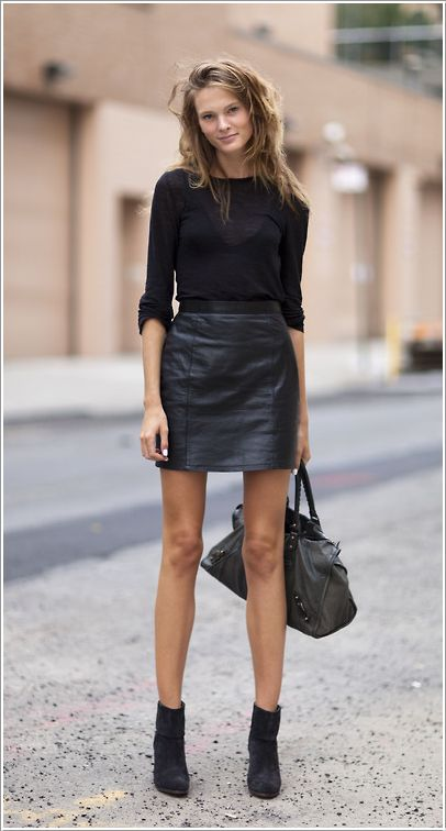 all black leather mini skirt, black long sleeve top