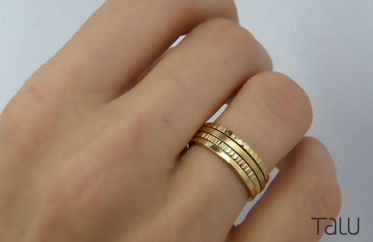Gold Stacking Rings, 14k Solid Gold, Thin Gold Rings, Rounded Thin Bands, Dainty Jewelry, Yellow Gold Rings, Four Gold Rings, Gift For Her by TALUrockngold on Etsy