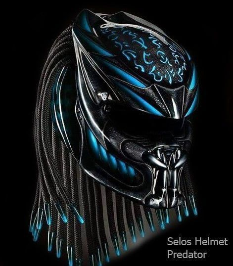 THE ALIEN PREDATOR HELMET STREET FIGHTER - BLUE - DOT APPROVED