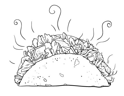 Printable taco coloring page. Free PDF download at http ...