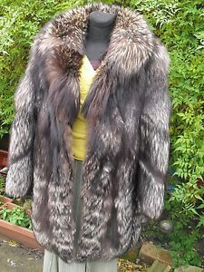Silver#platinum#real#fox #fur#winter#club#jacket#coat#wonderful#condition#UK#size#XS#S#or#small#M#8#10#12#celebrities#style#