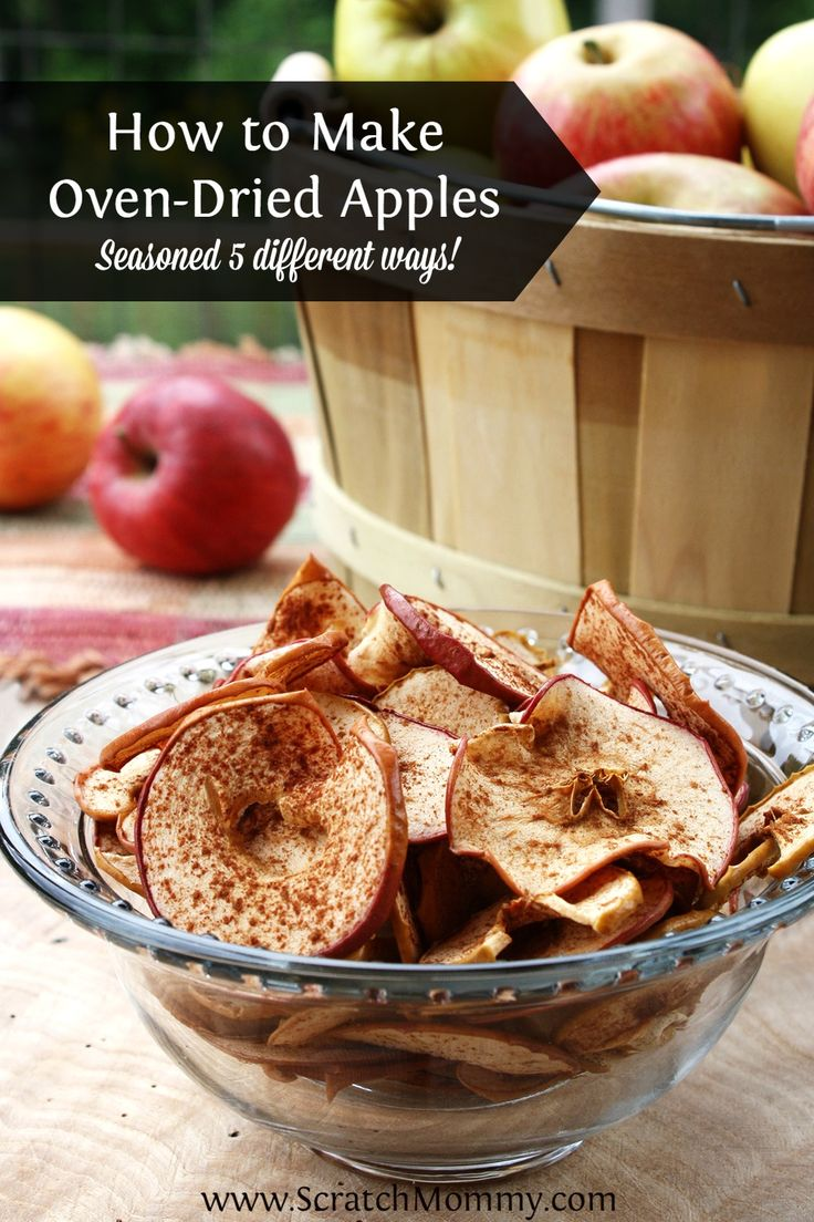 Don't know what to do with all those apples? Try these easy oven-dried apple chips with 5 different ways to flavor them -- from sweet to savory!