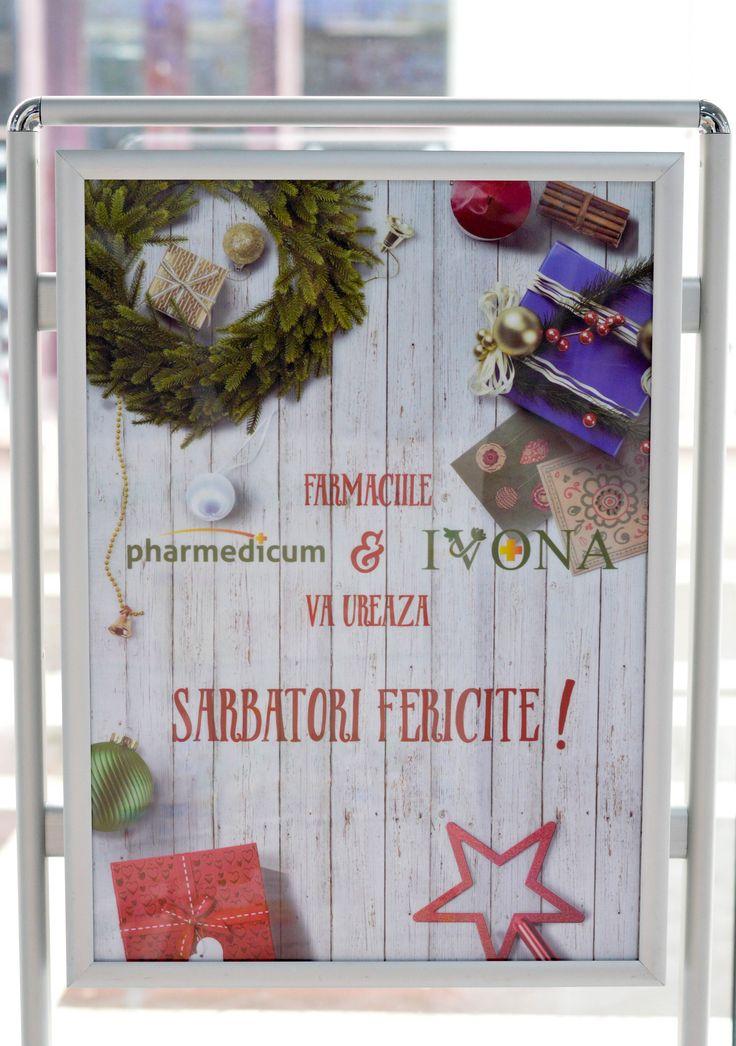 "Afis 500 x 700 mm - tematica iarna - ""Sarbatori Fericite"""