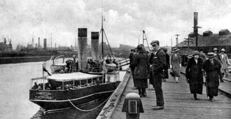 Old photograph of the harbour in Leith, Edinburgh, Scotland