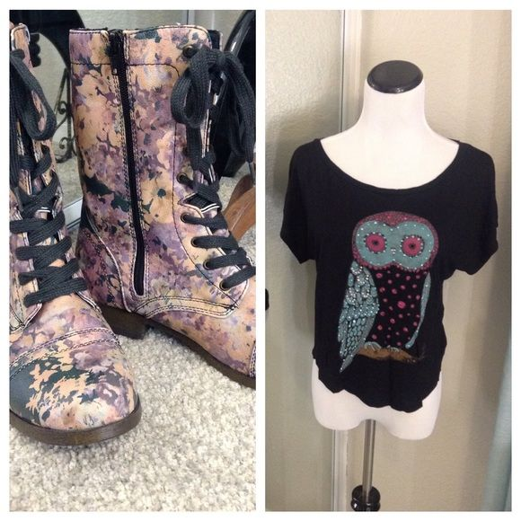 Floral Combat Style Boots And Owl Tee Be feminine, but edgy or grunge! We can have the best of both worlds, right?! These are perfect for just that. Beautiful floral combat style boots. Black, mauve, purple and peach. Lace up front and zip up side. Never worn! They are waiting for you! NWOB. Mossimo Supply Co. Shoes Combat & Moto Boots