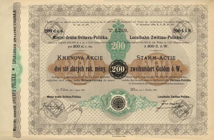 Místní dráha Svitava-Polička (Localbahn Zwittau-Polička). Kmenová akcie na 200 Zlatých. Vídeň, 1896.