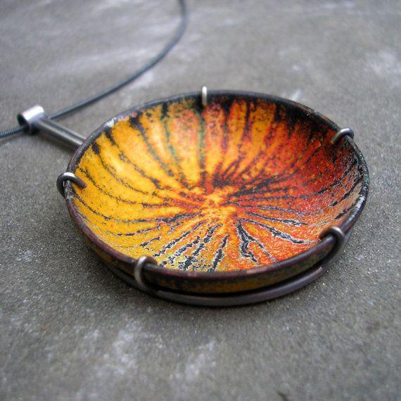 Orange Enamel Pendant.  Bright Orange, Red, Yellow, Black Enamel and Sterling Silver.  Sgraffito