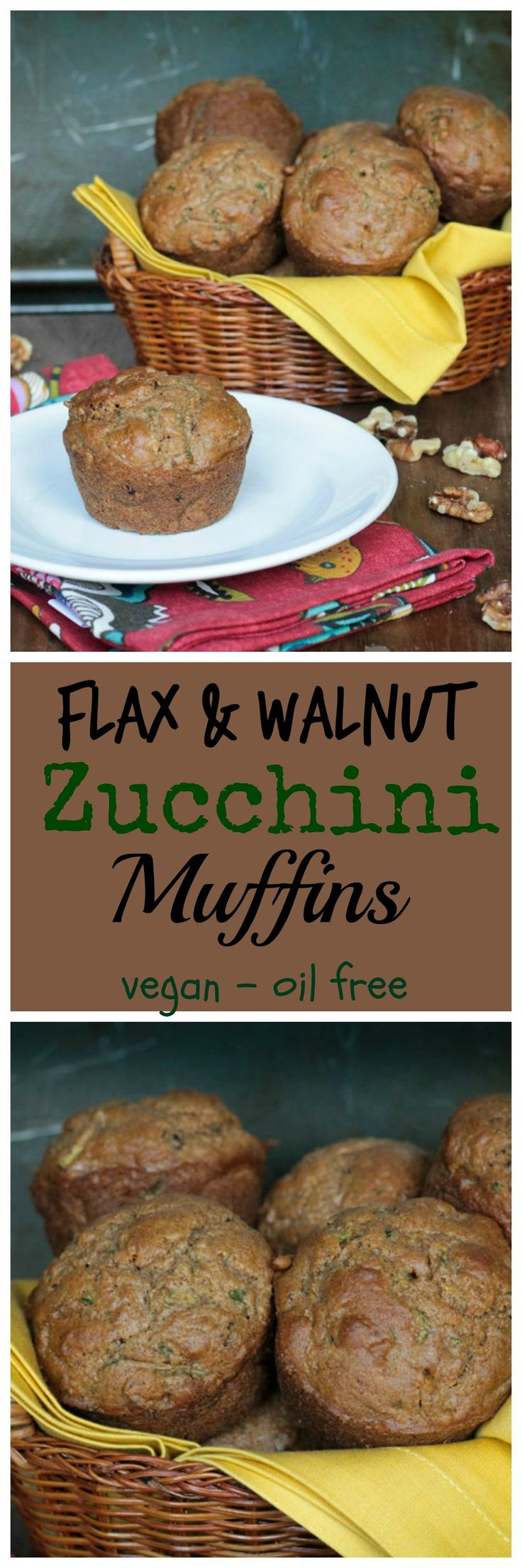 Flax & Walnut Zucchini Muffins - wholesome muffins, lightly sweetened, and perfect for a breakfast or a snack any time of day! #vegan #muffins #zucchini #flax #breakfast #snack #healthy
