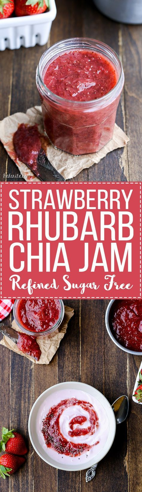 This Strawberry Rhubarb Chia Jam is refined sugar free and made without pectin - it uses chia seeds as the thickener! This easy refrigerator jam is refined sugar free, vegan and Paleo-friendly.