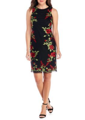 Donna Ricco New York Women's Sheath With Embroidered Mesh Overlay - Black Red - 16