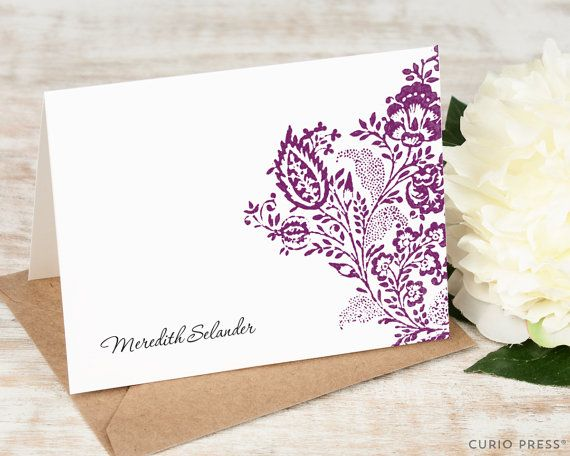 Personalized Floral Stationery Set / Custom Thank You Cards / Folded Personalised Stationary Note Cards / Flower Notecards // VINTAGE FLORAL