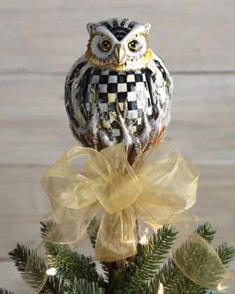 MacKenzie-Childs Courtly Check Owl Christmas Tree Topper - Horchow