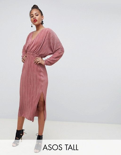 747a1c78db DESIGN Tall batwing midi plisse dress